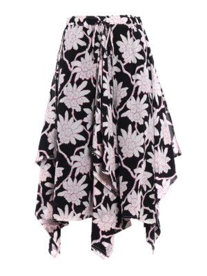 Valentino: Knee length skirts & Midi - Crepe de chine flounced skirt