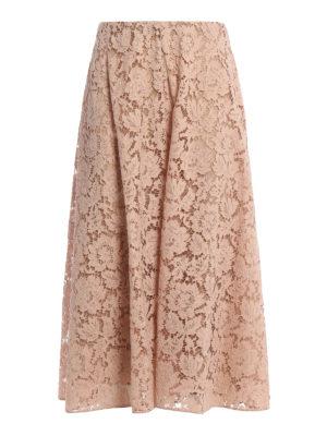 Valentino: Knee length skirts & Midi - Heavy Lace midi flared skirt