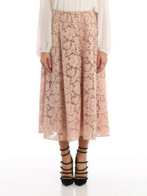 Valentino: Knee length skirts & Midi online - Heavy Lace midi flared skirt