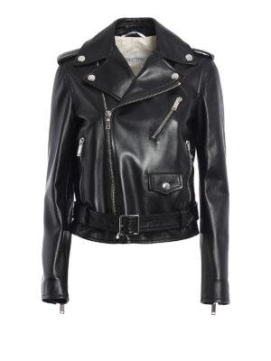 Valentino: leather jacket - 20.Rockstud Untitled biker jacket