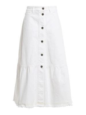 Valentino: Long skirts - A-line long cotton denim skirt