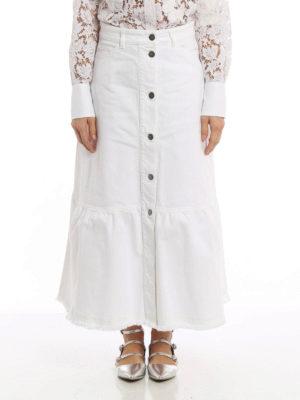 Valentino: Long skirts online - A-line long cotton denim skirt
