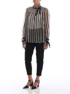 VALENTINO: bluse online - Blusa in organza di seta a righe con fiocchi