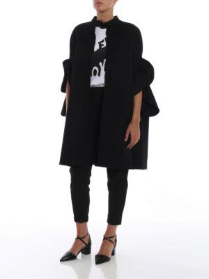 VALENTINO: Mantelle e poncho online - Cappa nera in Compact Drap con ruches