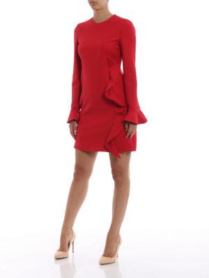 VALENTINO: abiti da cocktail online - Abito in Crepe Couture rosso con volant