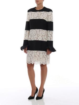 VALENTINO: abiti da cocktail online - Abito a righe in Heavy Lace e Crepe Couture