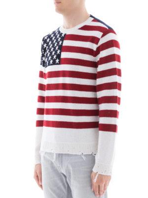 VALENTINO: maglia collo rotondo online - Pull in cashmere destroyed con bandiera USA