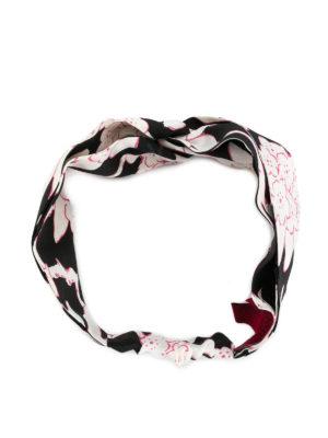 VALENTINO: accessori per capelli online - Fascia in seta stampa Rododendro