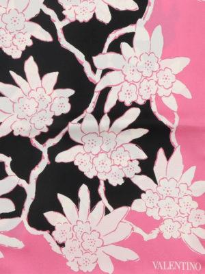 VALENTINO: sciarpe e foulard online - Foulard in twill stampa Rododendro