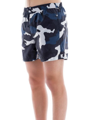 VALENTINO: Costumi piscina e boxer online - Boxer da mare in nylon camouflage blu