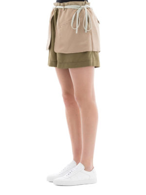 VALENTINO: pantaloni shorts online - Shorts verdi in seta shappe e satin