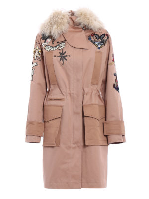 Valentino: parkas - Fur trim Tattoo embroidered parka