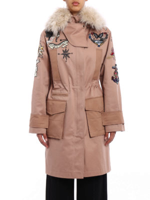 Valentino: parkas online - Fur trim Tattoo embroidered parka