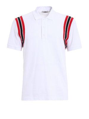 Valentino: polo shirts - Striped armholes cotton polo shirt