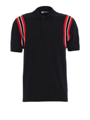 Valentino: polo shirts - Striped armholes polo with patch
