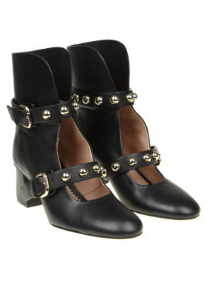 Valentino Red: ankle boots online - Open front leather ankle boots