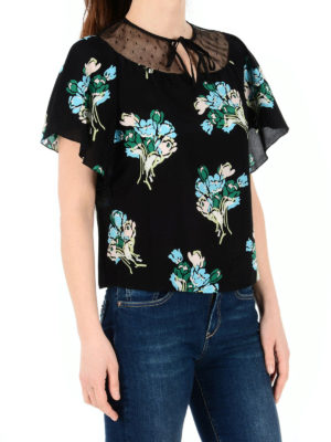 Valentino Red: blouses online - Bouquet detailed crêpe blouse