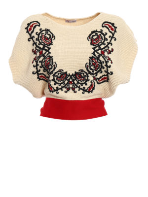 Valentino Red: boat necks - Bandana embroidered crop sweater