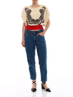 Valentino Red: boat necks online - Bandana embroidered crop sweater