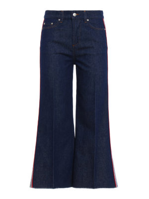 Valentino Red: bootcut jeans - Contrasting bands flared crop jeans