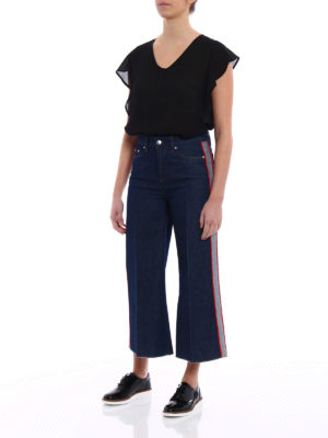Valentino Red: bootcut jeans online - Contrasting bands flared crop jeans