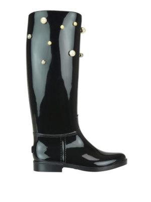 VALENTINO RED: stivali - Stivali da pioggia in gomma con perle