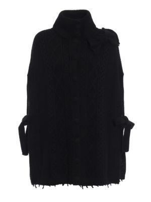 VALENTINO RED: Mantelle e poncho - Mantella nera in maglia di lana