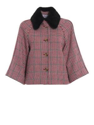VALENTINO RED: giacche casual - Mantellina pied-de-poule con collo in visone