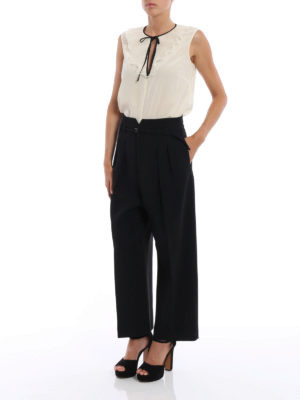 Valentino Red: casual trousers online - Pleated crepe cady crop trousers
