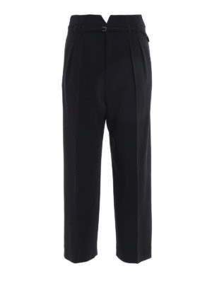 Valentino Red: casual trousers - Pleated crepe cady crop trousers