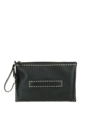 Valentino Red: clutches - Black leather studded clutch