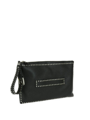 Valentino Red: clutches online - Black leather studded clutch