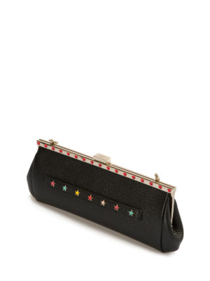 Valentino Red: clutches online - Star detailed leather clutch