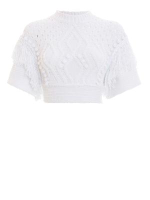 VALENTINO RED: maglia collo rotondo - Girocollo crop in tricot di cotone