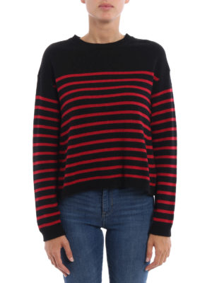 Valentino Red: crew necks online - Stiped knitter crew neck pullover