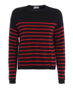 Valentino Red: crew necks - Stiped knitter crew neck pullover