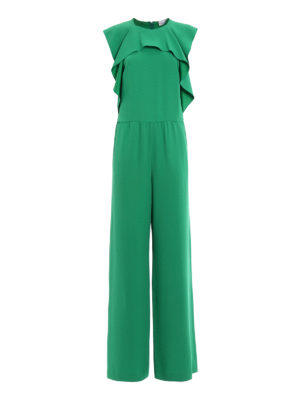 Valentino Red: jumpsuits - Green crepe ruched jumpsuit