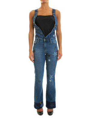 Valentino Red: jumpsuits online - Denim star patches overalls