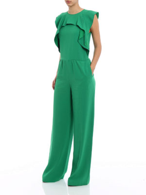 Valentino Red: jumpsuits online - Green crepe ruched jumpsuit