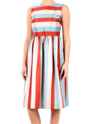 Valentino Red: knee length dresses online - Striped silk blend dress