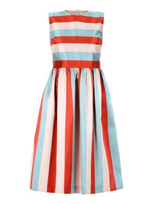Valentino Red: knee length dresses - Striped silk blend dress
