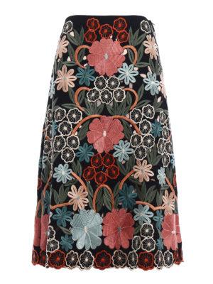Valentino Red: Knee length skirts & Midi - Flared embroidered midi skirt