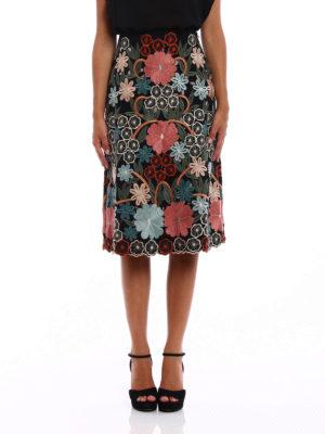 Valentino Red: Knee length skirts & Midi online - Flared embroidered midi skirt