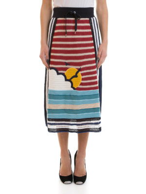 Valentino Red: Knee length skirts & Midi online - Striped knitted cotton skirt