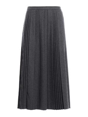 Valentino Red: Knee length skirts & Midi - Pleated flannel midi skirt