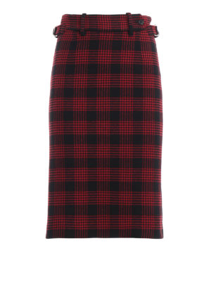 VALENTINO RED: Knee length skirts & Midi - Prince of Wales two-tone pencil skirt