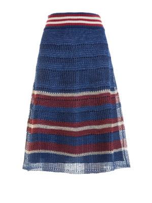 Valentino Red: Knee length skirts & Midi - Raffia effect crochet skirt