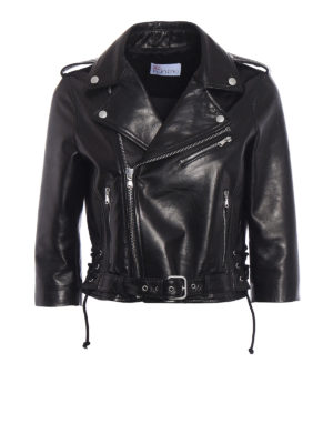 Valentino Red: leather jacket - Dragonfly print leather jacket