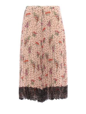 Valentino Red: Long skirts - Blooming Garden pleated skirt
