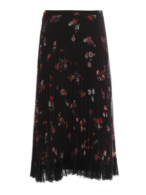 Valentino Red: Long skirts - Floral crepe pleated skirt